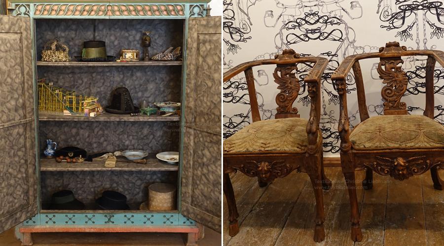 Schloss Aichberg: Restaurierte Tapezierung zweier Stühle, Textilien
