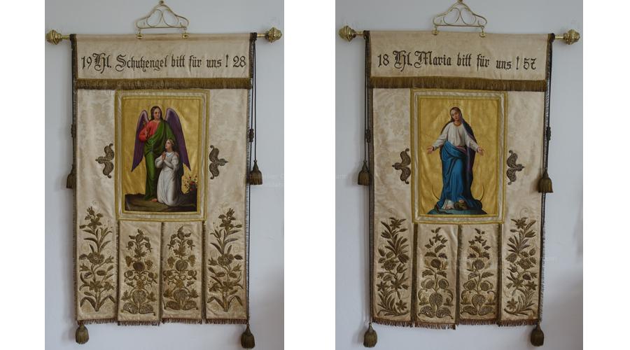Pfarre St. Ruprecht an der Raab: Restaurierte Fahne mit Vorder- und Rückseite