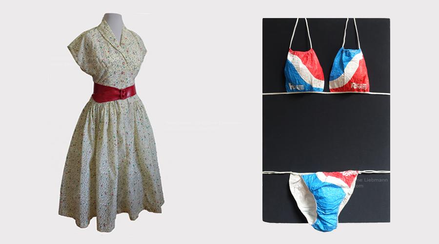 Schloss Aichberg: Kleid in Perlon 1950er - Bikini Rennbahn-Express 1970er