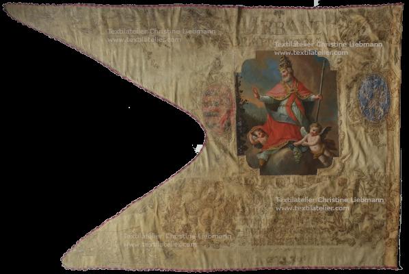 Diözesanmuseum Eisenstadt: Winzerfahne nach der Konservierung (datiert 1770)