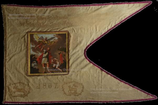 Diözesanmuseum Eisenstadt: Zunftfahne der Fleischer (von 1807) nach Restaurierung