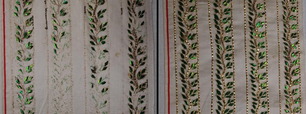 Detail der Stickerei aus Stab der 1. Kasel vor und nach der Restaurierung