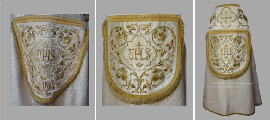 Pluviale mit praechtiger Goldstickerei aus der Pfarre Puergg. Details der Kappa mit Ansicht vor und nach der Restaurierung.